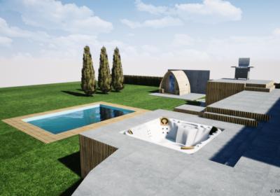 Projets 3D d'une installation jacuzzi, sauna et piscine